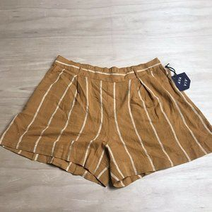 Ava & Viv Womens Brown Striped Linen Blend Shorts